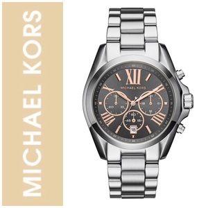 Michael Kors Bradshaw Silver Black Dial Watch